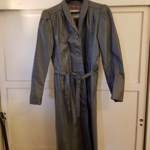Full-Length Grey Leather Trench Coat